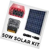 Solar Power Generator System Kit - 50W Panel / 120V Inverter
