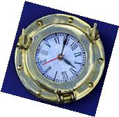 "Solid Brass Porthole Replica Wall Mount 6"" Clock ~ Nautical"