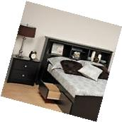 Prepac Sonoma Black Full / Queen Wood Bookcase Headboard 2