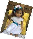 SPRING EMBROIDERED WHITE PARTY DRESS W/HAIR HEADBAND FIT 18