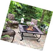 "Outsunny 32"" Square Outdoor Backyard Patio Firepit Table"