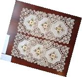 "6 PCS 12"" Square Crochet Lace Doily COLOR Beige   100 %"