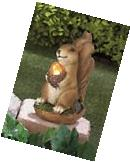 SQUIRREL with Lighted Acorn Solar Garden Statue Outdoor