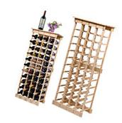 Stackable Wine Storage Rack 44 Bottles Solid Wood Cellar