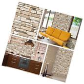 Natural Stacked Stone Brick Pattern Vinyl Contact Paper Self