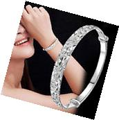 New Fashion Jewelry Sterling 925 Silver Womens Charm Bangle