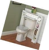 Bathroom Storage Cabinet Rack Wood Caddie Over Toilet White