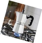 Stovetop Espresso Coffee Maker 6 Cup Chrome Aluminium