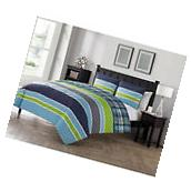 Stripe Printed 3 Piece Reversible Plaid Bedding Comforter