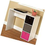 Student Writing Desk Table White with 3 Fabric Bins Dorm