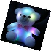 Wewill Stuffed Teddy Bear Toy with LED Night Light 8-Inch White