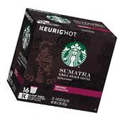 Starbucks Sumatra Dark Roast Coffee 128 Cups K Cup Pods for