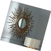 Sunburst Wall Mirror Round Copper Bronze Art Metal Sculpture
