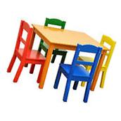 Kids Table And Chairs 5 Piece Wooden Set Child Activity