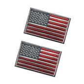 Tactical USA Flag Patch -Subdued Silver- Velcro American