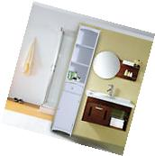 Tall Bathroom Cabinet Storage Shelves Cupboard Unit Wooden