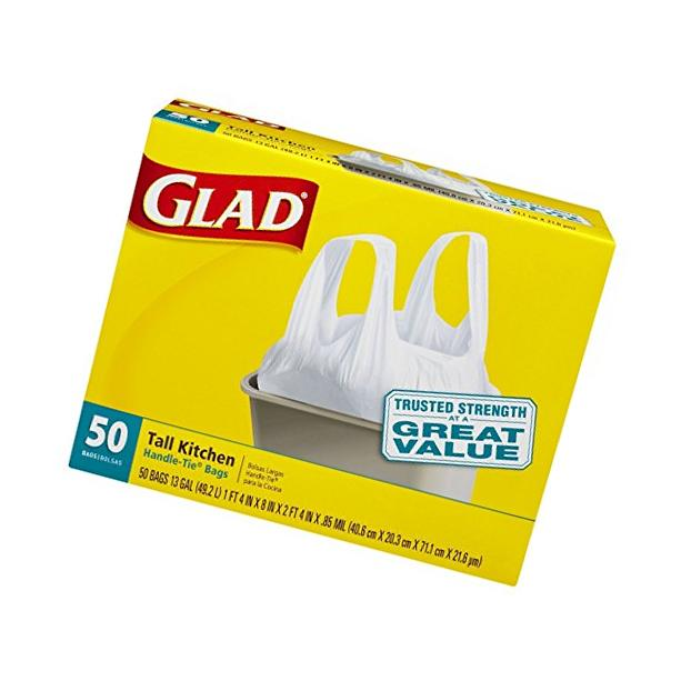 Tall Kitchen Handle-tie Trash Bags, Glad , White, 13 Gallon