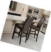 Set of 2 Tall-Back Marbled Brown Leather Bar Stools w/