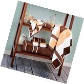 Tan and Brown 6 Pc Velour Towel Set 100 % Percent Cotton
