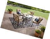 5 Piece Tan Outdoor Patio Furniture Dining Set Stacking