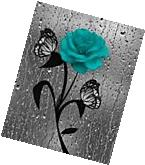 Teal Bathroom Wall Art, Rose Flower Butterfly, Bath/Power