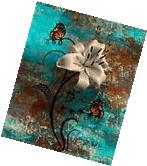 Teal Brown Butterflies Lily Modern Rustic Home Decor Wall