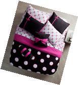 Teen Bedding Black Pink Polka-Dot 10 PC Full Size Complete