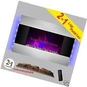 "36"" Tempered Glass Electric Fireplace 2 Setting LED Backlit"