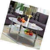 Tempered Glass Oval Side Coffee Table Shelf Chrome Base