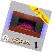 "36"" Tempered Glass Electric Fireplace Heater 2-in-1 Pebbles"