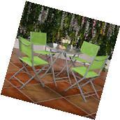 5 PCS Textilene Bistro Furniture Set Garden Folding Chairs