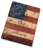 "TIN SIGN ""American Flag 1776"" Flag Metal Decor Patriotic"