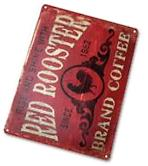 """TIN SIGN """"Coffee Red Rooster"""" Metal Decor Art Kitchen"""