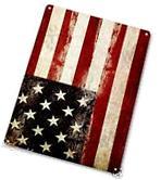 "TIN SIGN ""Rustic Flag"" American Metal Decor Wall Art"
