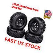 4Pcs Tires 12mm Hex Rims For HSP 1:10 RC TRAXXAS SLASH HPI