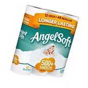 Angel Soft Toilet Paper, 12 Mega Rolls, Bath Tissue