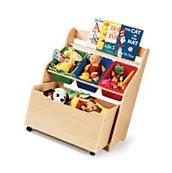 Toy Organizer with Bookshelf Toys Bins Storage Kids