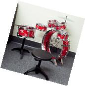 Toys Kids Red Drum Boy Girl Music 11 piece Drum Set with