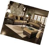 Traditional Beige Brown Living Room Sofa Set w/ Rolled Arms