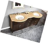 "72"" Travertine Stone Top Bath Cabinet Double Sink Bathroom"
