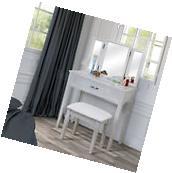 Tri-Fold 3 Mirror Bedroom Vanity Set Table Drawer Bench Hair