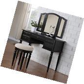 Tri Folding Mirror Vanity Set Makeup Table Dresser w/ Bench