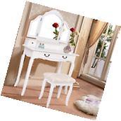 White Tri Folding Mirror Vanity Makeup Table Set Bathroom W/