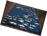 4x6  Tropical Coastal Island Fish Indoor Outdoor Area Rug