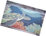 4x6  Tropical Coastal Ocean Turtle Indoor Outdoor Area Rug