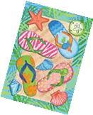 Tropical Flip Flops Summer Garden Flag Sand Beach Nautical