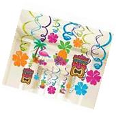 Tropical Tiki Swirl Decorations ~ Summer Luau Hawaiian
