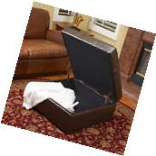 Tufted Brown Leather Storage Ottoman Coffee Table with