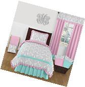 Sweet Jojo Designs Turquoise Blue Pink & Gray Damask Girl