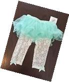 NEW INFANT GIRL BABY STARTERS TUTU SEA GREEN IVORY LACE